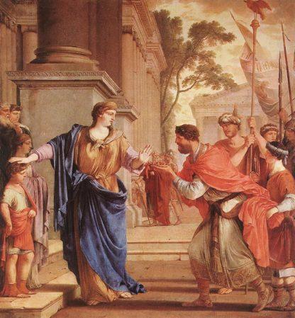 Cornélie refusant la main du roi d'Égypte pour mieux s'occuper de ses enfants (Laurent de La Hyre - 1646)