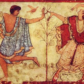 Couple de danseurs Tombe du Triclinium Museo Archeologico Nazionale Tarquiniense, Italia