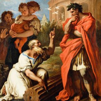 Tarquin l'Ancien demandant conseil à Attius Navius Sebastiano Ricci
